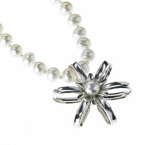 Handmade Sterling Silver Pearl Flower Necklace
