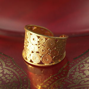 22K Gold Plated Coral Design Ring - rings