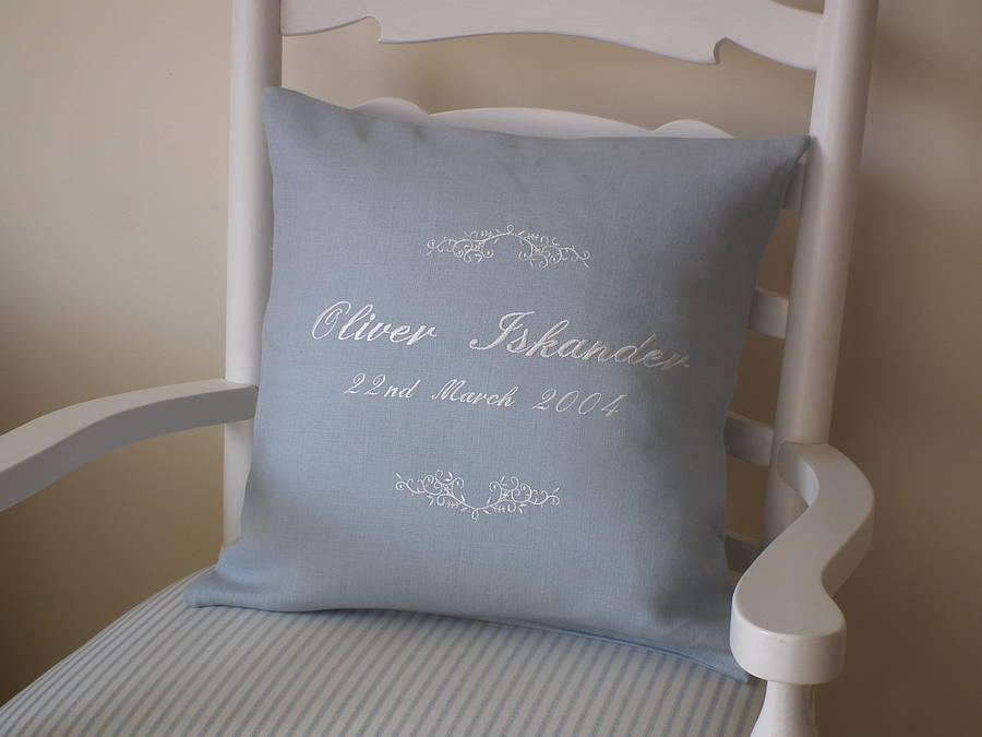 Personalised embroidered scroll cushion by broderie blanc