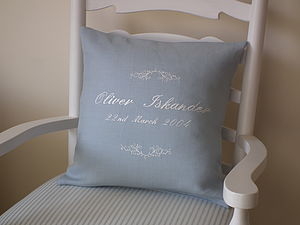 Personalised Embroidered Scroll Cushion
