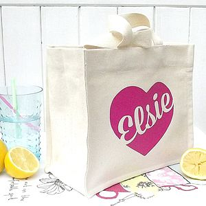 Personalised Mini Canvas Tote With Heart - flower girl gifts