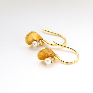 Brushed Leaf And Freshwater Pearl Earrings