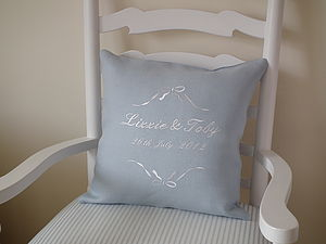 Personalised Bow Wedding Cushion