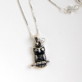 Solid Sterling Silver Owl And Star Necklace