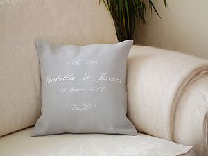 Personalised Scroll Wedding Cushion - living room