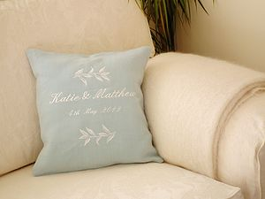 Personalised Leaf Wedding Cushion