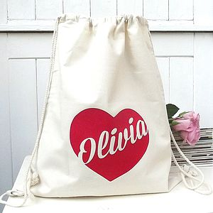 Personalised Storage Bag With Heart Design