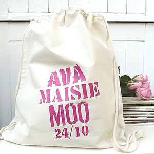 Personalised Mixed Font Drawstring Storage Bag