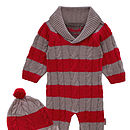 French Design Cable Cashmere Romper And Hat