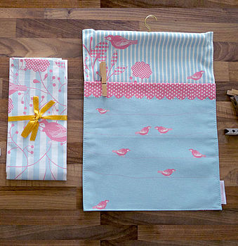Birds And Stripes Peg Bag And Tea Towel