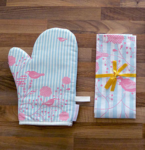 Birds And Stripes Oven Mitt And Tea Towel - oven gloves & mitts