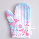 Birds And Stripes Oven Mitt And Tea Towel