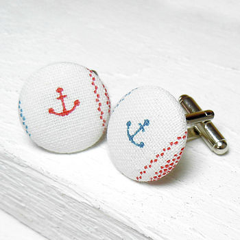 Anchor Fabric Cufflinks