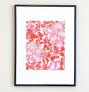 Seahorses And Lilly Pads Print   Pink - posters & prints
