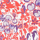 Seahorses And Lilly Pads Print  Red
