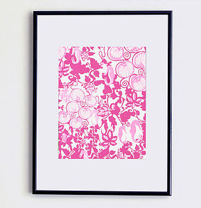 Seahorses And Lilly Pads Print   Violet