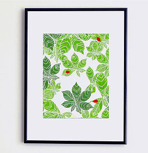Ladybirds And Leaves Print - posters & prints