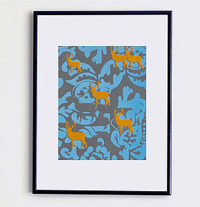 Deer And Damask Print - animals & wildlife