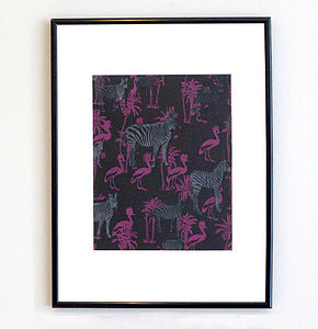 Flamingos And Zebras Print