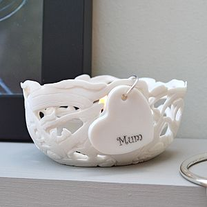 'Mum' Porcelain Tea Light Holder