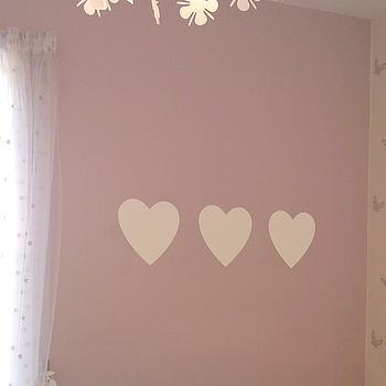 Set Of Three Hearts Wall Sticker