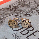 Round musical note cufflinks