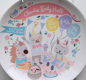 Personalised Woodland Picnic Baby Birth Plate