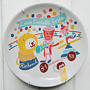 Personalised Circus Theme Baby Birth Plate