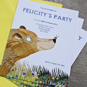 Personalised Children's Bear Party Invitations