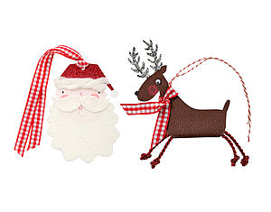 Reindeer And Santa Gift Tags - ribbon & wrap