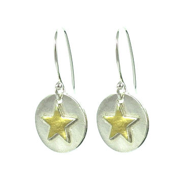 Gold Star On Silver Earrings