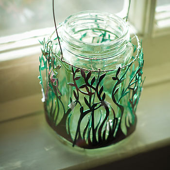 Handmade Recycled Papercut And Glass Lantern