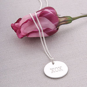 Silver Hugs And Kisses Pendant Necklace