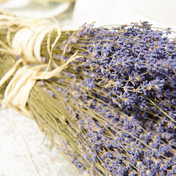 two dried lavender bunches tied with raffia on display