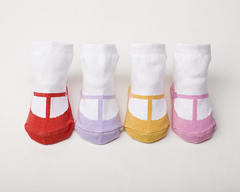 Set Of Four T Strap Shoe Baby Socks