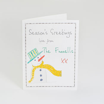 Pack Of Personalised Christmas Snowman Cards