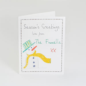 Pack Of Personalised Christmas Snowman Cards - cards
