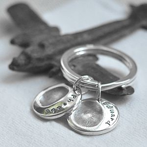 Personalised Fingerprint Charm Keyring - 25th anniversary: silver