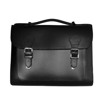 Black/Brown/Tan Leather Briefcase Satchel