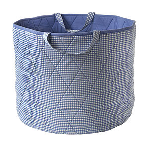 Blue Gingham Toy Storage Basket - camping