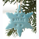 Personalised Snowflake Decoration with juicy blue glaze