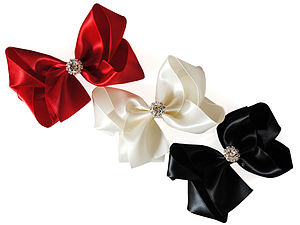 Satin Bow With Sparkly Crystal Centre - hair accessories