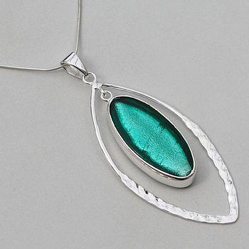 Murano Glass Hammered Elipse Silver Pendant - Sea Green