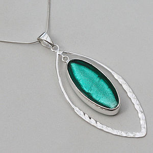 Murano Glass & Silver Hammered Elipse Pendant - gifts for her
