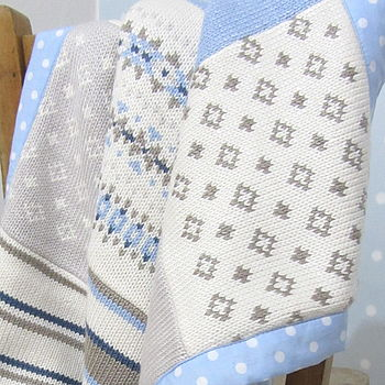 Blue Knitted Fairisle Blanket zoom