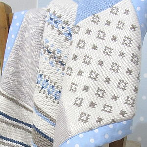 Blue Fairisle Knitted Baby Blanket - bedroom