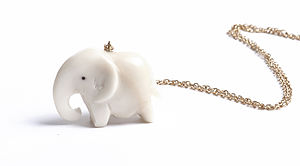 Hand Carved Ethical Elephant Pendant - women's jewellery