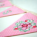 mint and pink fabric bunting