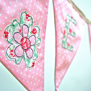 Girl's Personalised Flower Bunting - children's parties
