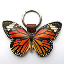 Leather Monarch Butterfly Key Ring